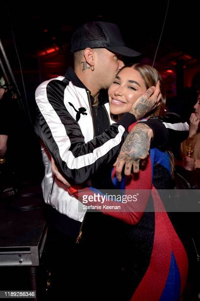 Miles Brockman Richie and Chantel Jeffries attend PUMA x Balmain created with Cara Delevingne LA Launch Event at Milk Studios on November 21, 2019 in...