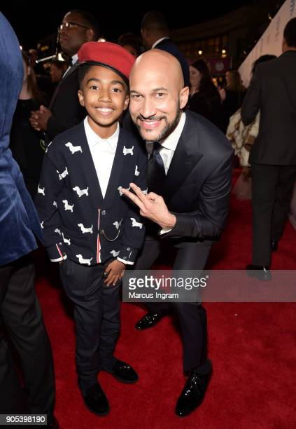 Miles Brown and KeeganMichael Key attend the 49th NAACP Image Awards at Pasadena Civic Auditorium on January 15 2018 in Pasadena California