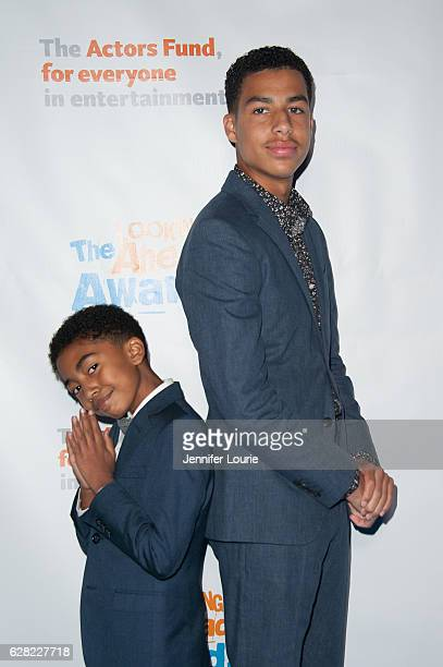Miles Brown and Marcus Scribner arrive at the Actors Fund's 2016 Looking Ahead Awards at the Taglyan Complex on December 6, 2016 in Los Angeles,...