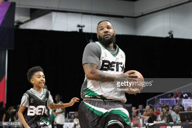 Miles Brown and The Game play basketball at the Celebrity Basketball Game Sponsored By Sprite during the 2018 BET Experience at Los Angeles...