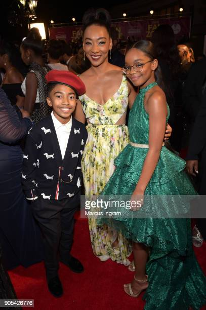 Miles Brown, Betty Gabriel and Marsai Martin attend the 49th NAACP Image Awards at Pasadena Civic Auditorium on January 15, 2018 in Pasadena,...