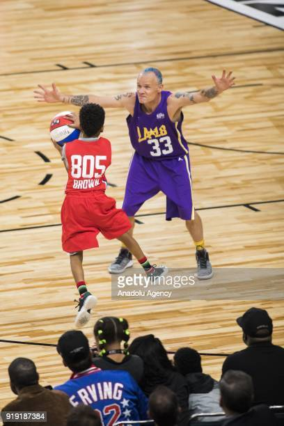 Miles Brown of Team Clippers in action against Flea of Team Lakers during the 2018 NBA AllStar Celebrity Game as part of AllStar Weekend at the Los...