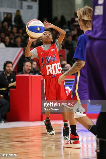 Miles Brown shoots the ball during the NBA AllStar Celebrity Game presented by Ruffles as a part of 2018 NBA AllStar Weekend at the Los Angeles...
