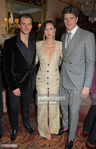Miles Bugby Betty Bachz and Toby HuntingtonWhiteley attend the Tom Ford Beauty Beau Du Jour event at Marks Club on January 7 2020 in London England