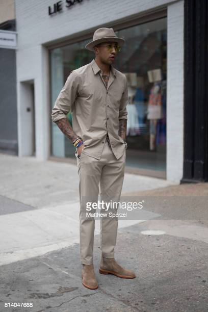 Miles Chamley Watson is seen attending Theory during Men's New York Fashion Week wearing Theory on July 13 2017 in New York City