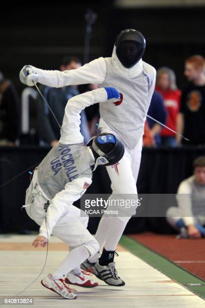 Miles ChamleyWatson makes a move against Nicholas Stockdale of Air Force during the Division I Men's Fencing Championship held at the Albert H Gordon...