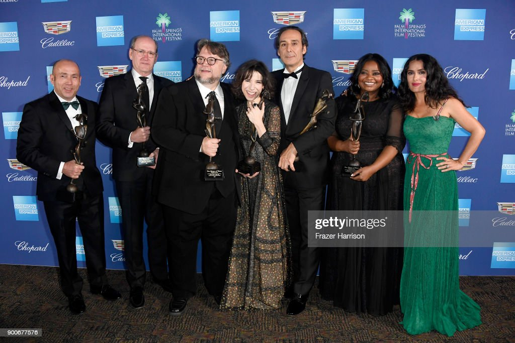 J. Miles Dale, Richard Jenkins, Guillermo del Toro, Sally Hawkins, Alexandre Desalt, Octavia Spencer, and Salma Hayek attend the 29th Annual Palm Springs International Film Festival Awards Gala at Palm Springs Convention Center on January 2, 2018 in Palm Springs, California.