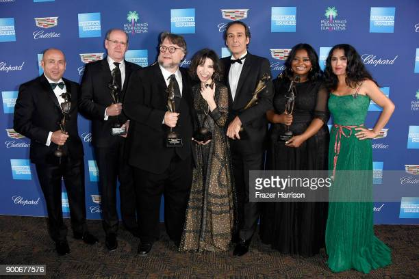 J Miles Dale Richard Jenkins Guillermo del Toro Sally Hawkins Alexandre Desalt Octavia Spencer and Salma Hayek attend the 29th Annual Palm Springs...