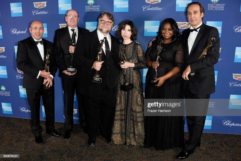 J. Miles Dale, Richard Jenkins, Guillermo del Toro, Sally Hawkins, Octavia Spencer, and Alexandre Desalt attend the 29th Annual Palm Springs International Film Festival Awards Gala at Palm Springs Convention Center on January 2, 2018 in Palm Springs, California.