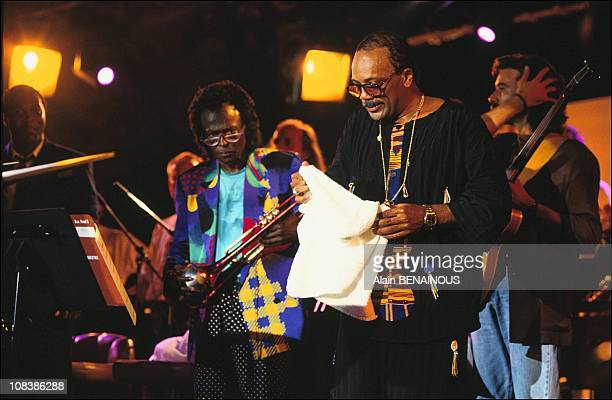Miles Davis and Quincy Jones performing at the Montreux Jazz Festival, Switzerland, 1st July 1991.