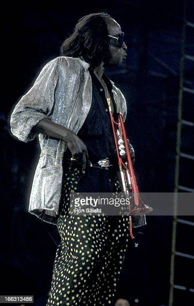 Miles Davis attends Amnesty International Benefit Concert on June 15, 1986 at Giant's Stadium in East Rutherford, New Jersey.
