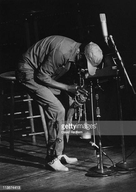 Miles Davis US jazz trumpeter band leader and composer playing the trumpet during a live concert performance circa 1970