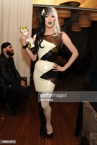 Miles Deniro backstage during the Geoffrey Mac For Sharon Needles fashion show at Out Hotel on February 11 2014 in New York City