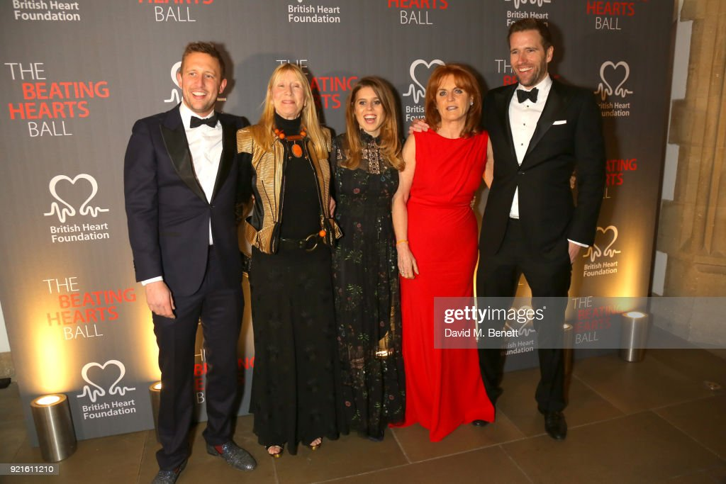 Miles Frost, Lady Carina Fitzalan-Howard, Princess Beatrice of York, Sarah Ferguson, Duchess of York and Wilfred Frost attend the British Heart Foundations Beating Hearts Ball at The Guildhall on February 20, 2018 in London, England.