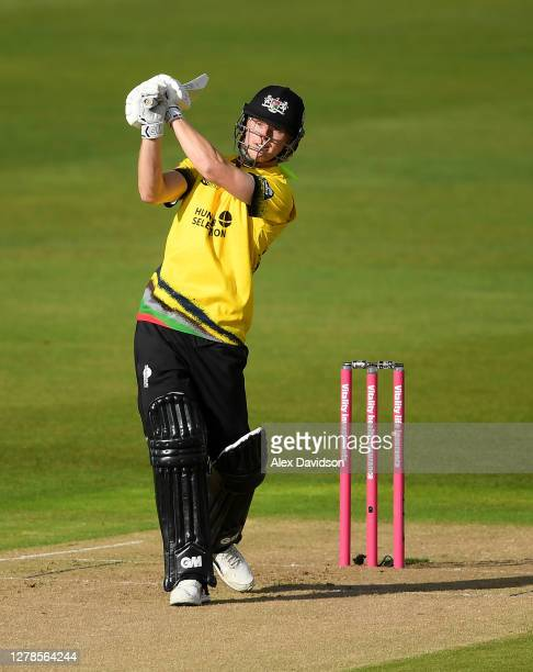 Miles Hammond of Gloucestershire hits runs during the Vitality Blast 2020 Semi Final match between Surrey and Gloucestershire at Edgbaston on October...