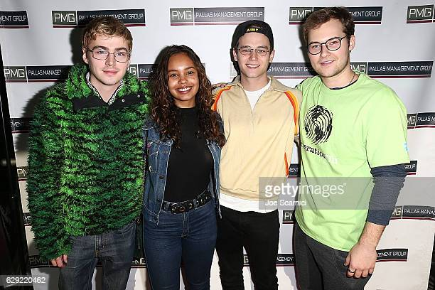 Miles Heizer, Alisha Boe, Brandon Flynn and Justin Prentice arrive at the generationOn, Hasbro and Pallas Management toy wrapping event on December...
