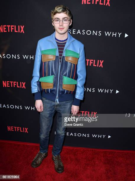 Miles Heizer arrives at the Premiere Of Netflix's '13 Reasons Why' at Paramount Pictures on March 30 2017 in Los Angeles California
