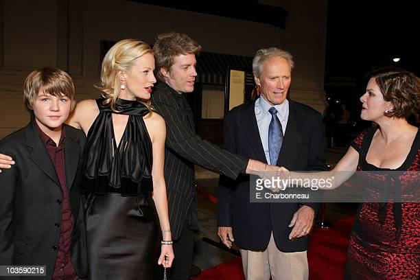 Miles Heizer director Alison Eastwood Clint Eastwood and Marcia Gay Harden at the Warner Bros premiere of Rails Ties at the Steven J Ross Theater on...