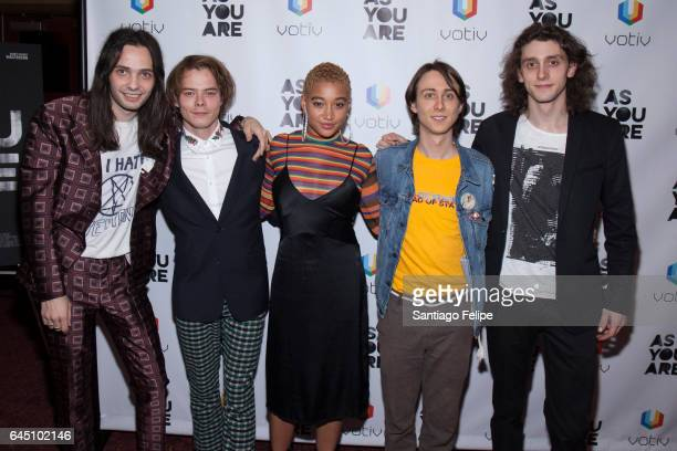 Miles JorisPeyrafitte Charlie Heaton Amandla Stenberg Owen Campbell and Madison Harrison attend 'As You Are' New York Premiere at Village East Cinema...