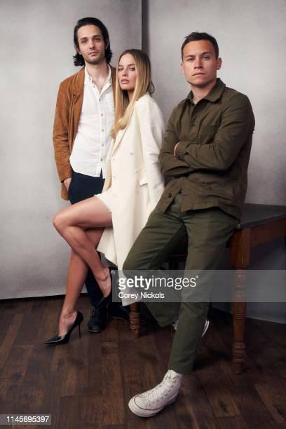 Miles JorisPeyrafitte Margot Robbie and Finn Cole of the film 'Dreamland' pose for a portrait during the 2019 Tribeca Film Festival at Spring Studio...