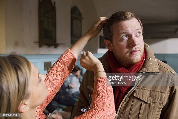 Miles Jupp on set of filming Rev 2 Rev is a BBC sitcom about a vicar running a modern innercity church with a reluctant wife and a depleted motley...