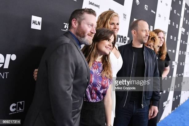 Miles Kahn Amy Hoggart Allana Harkin Mike Rubens Ashley Nicole Black and Alison Camillo attend the Turner Upfront 2018 arrivals on the red carpet at...