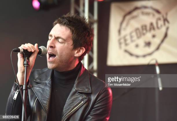Miles Kane of Dr Pepper's Jaded Hearts Club Band performs during Rachael Ray's Feedback party at Stubb's Bar B Que during the South By Southwest...