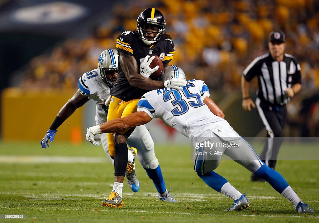 Miles Killebrew #35 of the Detroit Lions causes a fumble against Sammie Coates #14 of the Pittsburgh Steelers in the second half during the game on August 12, 2016 at Heinz Field in Pittsburgh, Pennsylvania.