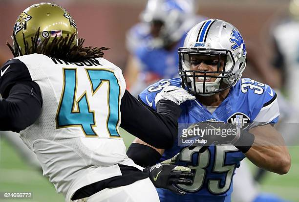 Miles Killebrew of the Detroit Lions faces off against Jarrod Wilson of the Jacksonville Jaguars during first half action at Ford Field on November...