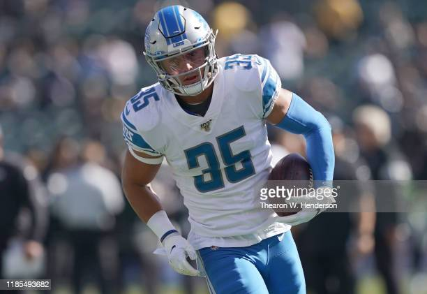 Miles Killebrew of the Detroit Lions warms up during pregame warm ups prior to the start of his game against the Oakland Raiders at RingCentral...