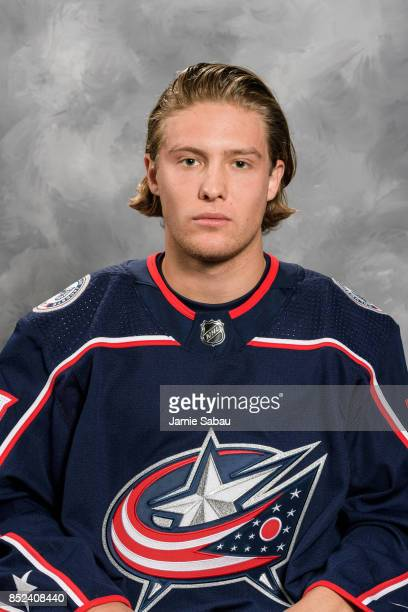 Miles Koules of the Columbus Blue Jackets poses for his official headshot for the 201718 season on September 14 2017 at Nationwide Arena in Columbus...