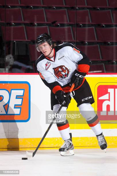 Miles Koules of the Medicine Hat Tigers skates against the Vancouver Giants in WHL action on October 5 2012 at Pacific Coliseum in Vancouver British...