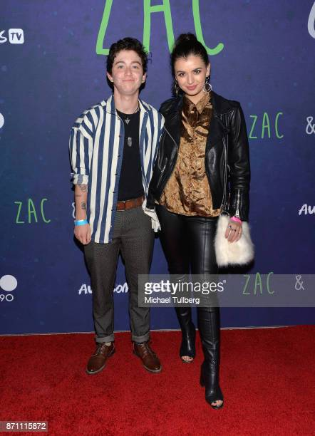 Miles McKenna and social media influencer Rebecca Black attends AwesomenessTV's celebration of the Premiere Of 'Zac And Mia' at Awesomeness HQ on...