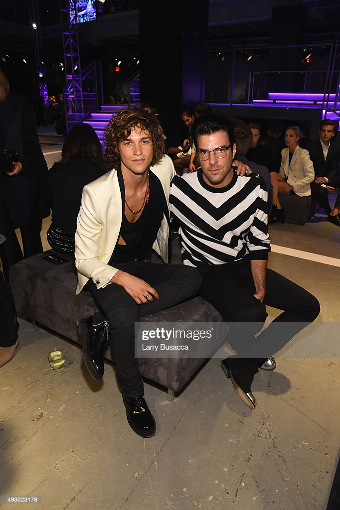 Miles McMillan (L) and actor Zachary Quinto attend the BALMAIN X H&M Collection Launch at 23 Wall Street on October 20, 2015 in New York City.