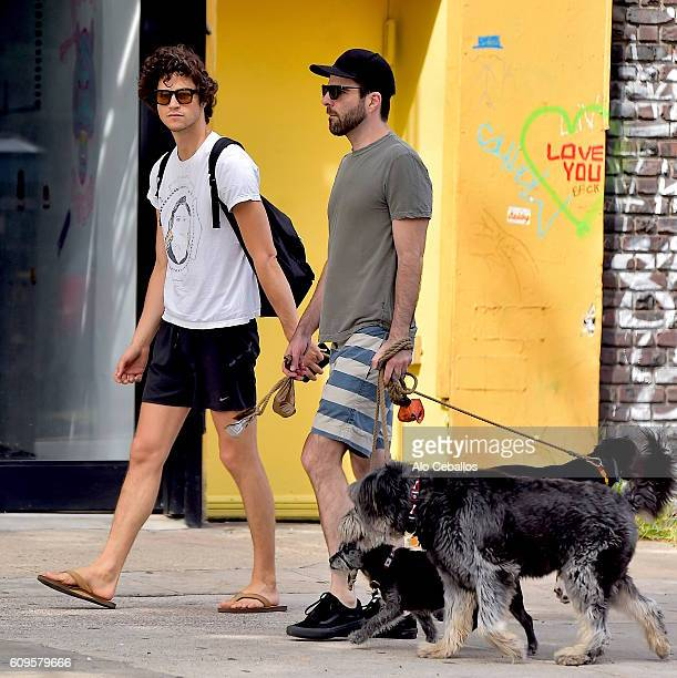 Miles McMillan and Zachary Quinto are seen in the East Village on September 21 2016 in New York City