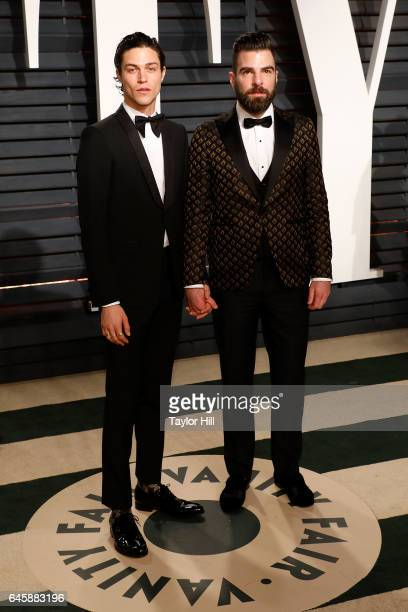 Miles McMillan and Zachary Quinto attend the 2017 Vanity Fair Oscar Party at Wallis Annenberg Center for the Performing Arts on February 26 2017 in...