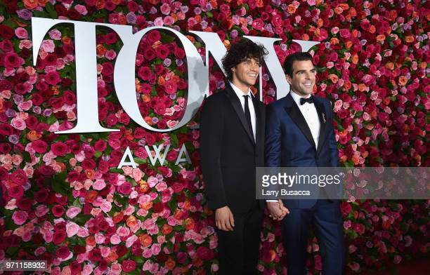 Miles McMillan and Zachary Quinto attend the 72nd Annual Tony Awards at Radio City Music Hall on June 10 2018 in New York City