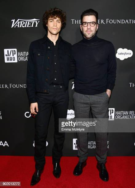 Miles McMillan and Zachary Quinto attend the 7th Annual Sean Penn Friends HAITI RISING Gala benefiting J/P Haitian Relief Organization on January 6...