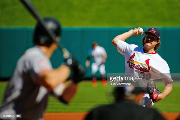 Miles Mikolas of the St Louis Cardinals delivers a pitch against the San Francisco Giants in the second inning at Busch Stadium on September 23 2018...