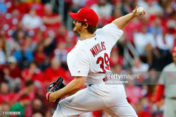 Miles Mikolas of the St Louis Cardinals delivers a pitch against the Philadelphia Phillies in the first inning at Busch Stadium on May 6 2019 in St...