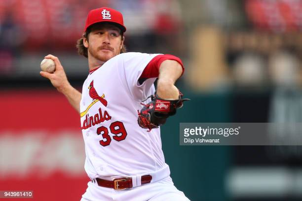 Miles Mikolas of the St Louis Cardinals delivers a pitch against the Milwaukee Brewers in the first inning at Busch Stadium on April 9 2018 in St...