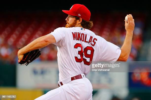 Miles Mikolas of the St Louis Cardinals delivers a pitch against the Kansas City Royals at Busch Stadium on May 21 2018 in St Louis Missouri