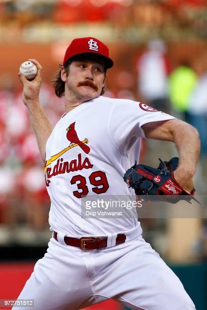 Miles Mikolas of the St Louis Cardinals delivers a pitch against the San Diego Padres in the second inning at Busch Stadium on June 12 2018 in St...