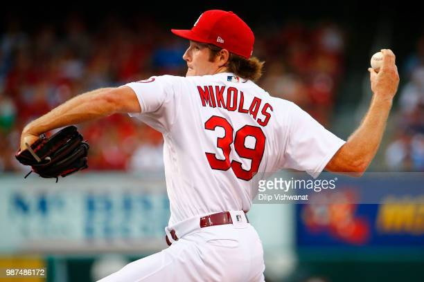 Miles Mikolas of the St Louis Cardinals delivers a pitch against the Atlanta Braves in the first inning at Busch Stadium on June 29 2018 in St Louis...