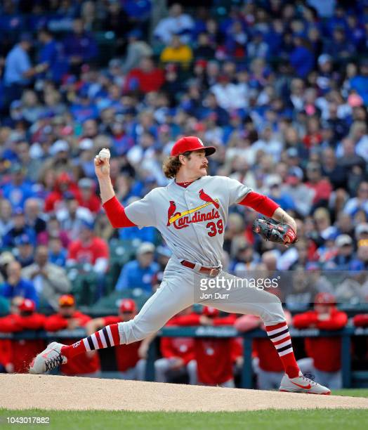 Miles Mikolas of the St Louis Cardinals pitches against the Chicago Cubs during the first inning at Wrigley Field on September 29 2018 in Chicago...