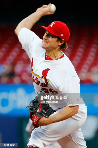 Miles Mikolas of the St Louis Cardinals pitches against the Los Angeles Dodgers first inning at Busch Stadium on April 8 2019 in St Louis Missouri