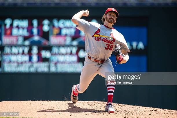 Miles Mikolas of the St Louis Cardinals pitches against the Minnesota Twins on May 16 2018 at Target Field in Minneapolis Minnesota The Cardinals...