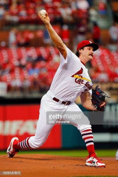Miles Mikolas of the St Louis Cardinals pitches against the Pittsburgh Pirates in the first inning at Busch Stadium on August 29 2018 in St Louis...