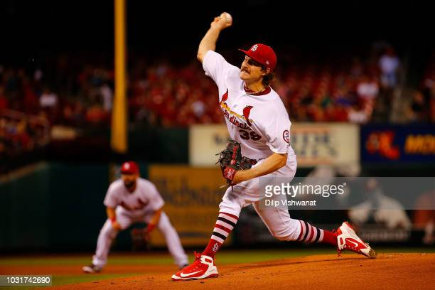 Miles Mikolas of the St Louis Cardinals pitches against the Pittsburgh Pirates in the first inning at Busch Stadium on September 11 2018 in St Louis...