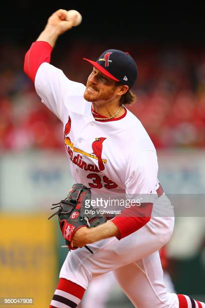 Miles Mikolas of the St Louis Cardinals pitches against the Cincinnati Reds in the first inning at Busch Stadium on April 22 2018 in St Louis Missouri